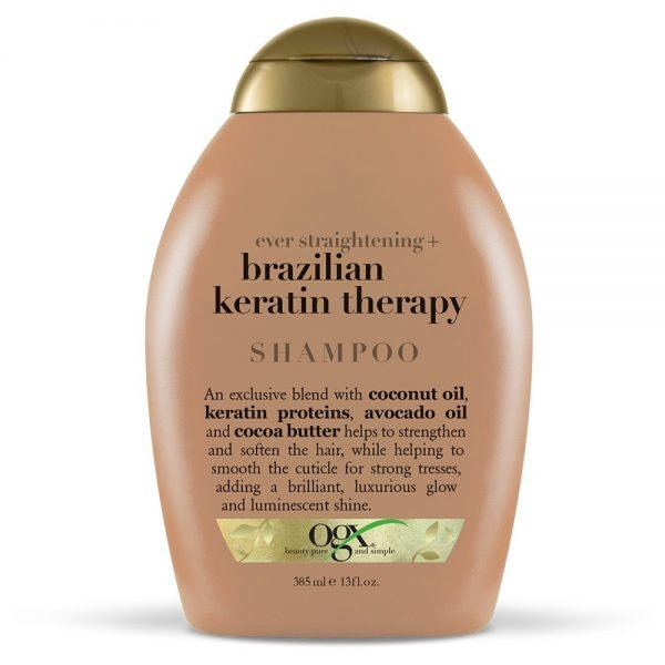 OGX Ever Straight Brazilian Keratin Therapy Shampoo, 13 fl oz: La rica fórmula de aceite de coco brasileño y proteínas de queratina suavizarán y fortalecerán tu cabello rizado u ondulado El aceite de aguacate y la manteca de cacao ayudan a suavizar el cabello. El champú OGX Keratin Therapy no contiene sulfato ni parabenos. Seguro para todo tipo de cabello, incluido el cabello teñido No probado en animales Para obtener los mejores resultados, use el acondicionador de terapia de queratina brasileña OGX Los productos OGX adicionales se venden por separado Las botellas son ecológicas, fabricadas con materiales que contienen resina reciclada post-consumo.