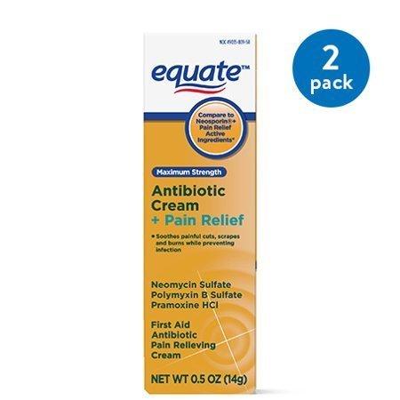 Crema antibiótica Equate Maximum Strength + Alivio del dolor, 1 oz, paquete de 2