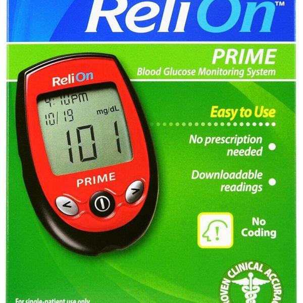 Sistema de monitoreo de glucosa en sangre ReliOn Prime, rojo