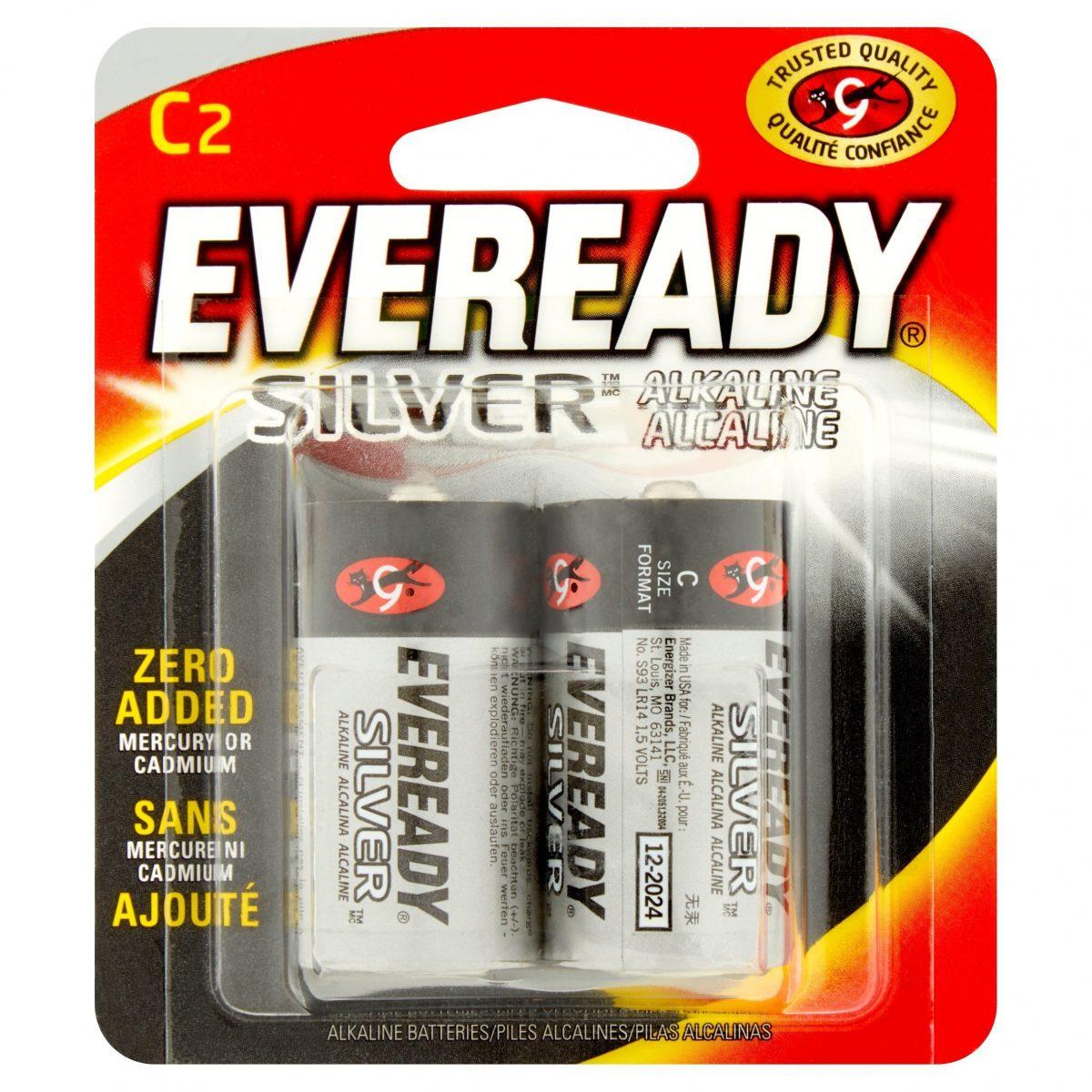 Baterías alcalinas de plata Eveready C, paquete de 2