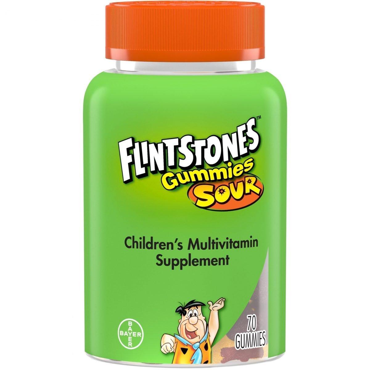 Picapiedra Sour Gummies Vitaminas para niños, Multivitaminas para niños, 70 u